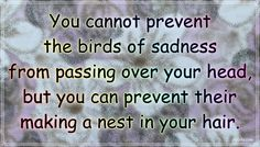 """""""You cannot prevent the birds of sadness from passing over your head, but you can prevent their making a nest in your hair."""" – Chinese proverb #aylake #happiness #quotes #happinessquotes Money And Happiness, Happiness Quotes, Happy Quotes, Chinese Proverbs, Sadness, Nest, Bring It On, Things To Come, Birds"""