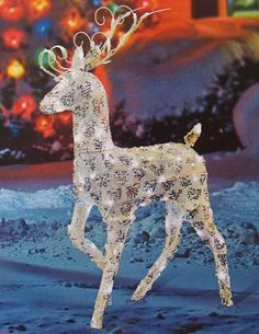 48 gold and silver buck reindeer lighted led christmas yard art decoration