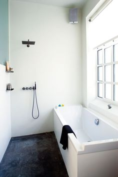 """OMG. this is what I've been describing. My bathroom is only 5' deep. Freestanding tub, 30"""", leaves 30"""" for a frameless shower area."""