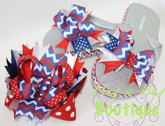 4th of July Chevron Stacked Bow & Flip Flop set with by HugABug, $22.00