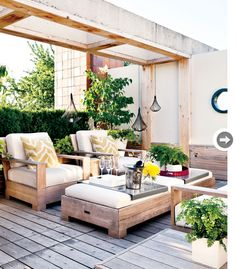 Outdoor decor: Modern rustic backyard - Style At Home. I love this, and Im thinking this sort of set up can replace my deck table and chairs. Who wouldnt love to eat dinner here? Terrasse Design, Patio Design, Rooftop Design, House Design, Outdoor Furniture Inspiration, Outdoor Furniture Sets, Outdoor Rooms, Outdoor Living, Outdoor Decor