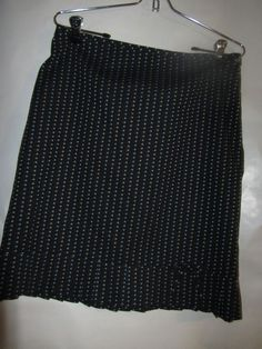 Ann Taylor LOFT,Modest Black/green/blue Lined Skirt sz 8, 100% Cotton  #AnnTaylorLOFT #Pleated