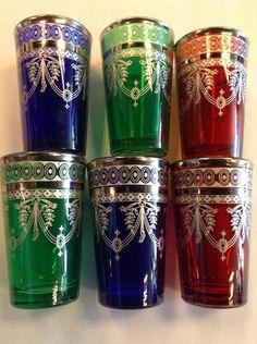 Morocco Tea artisan glass cobalt blue , red , mint green & gold accent set $19.99 via @shopseen