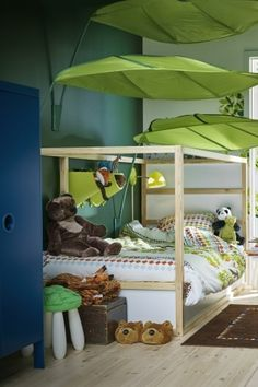 The LÖVA, leaf-shaped canopy can be mounted above a bed, chair, play table, or anywhere you'd like to inspire the imagination and create a cozy atmosphere for kids.