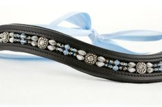 Black Leather English / Dressage Browband Beaded by BlueBayDesigns
