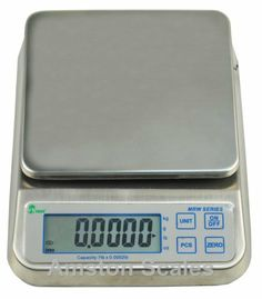 33 LB x 0.001 LB / 15 KG x 0.5 Gram Washdown Kitchen Portion Control Counting Dust Proof Water Proof Engine Balancing Digital Scale 6.5 x 7 Inches by Amston Scales. $175.95. Full 2 year manufacturers warranty. Counting function. Anycal software installed. This software allows you to calibrate your scale with any known weight LB or KG, no test weights needed. Weigh in pounds, ounces, pounds & ounces, kilograms or grams. Large stainless steel weighing platform size of 6.5 x 7 ...