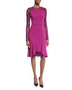 Losada Lace-Inset Flounce-Hem Dress, Byzantine by Talbot Runhof at Neiman Marcus.