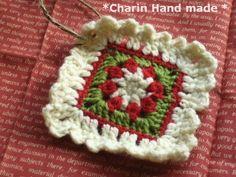 * Charin Hand made *クリスマスオーナメント兼コースター/ホワイト&グリーン