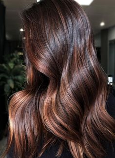 Visit here to see the vibrant ideas of chocolate-brown hair colors which is most famous trend among in every season of the year. It looks classy, dramatic and a bit strict when we compare it with other hair colors or highlights. Ladies who have natural cu Brown Hair Red Balayage, Dark Hair With Highlights, Brown Blonde Hair, Light Brown Hair, Dark Red Brown Hair, Color Highlights, Chesnut Brown Hair, Mahogany Highlights, Balayage Highlights