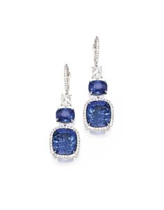 Pair of Platinum, Sapphire and Diamond Earrings - Sotheby's