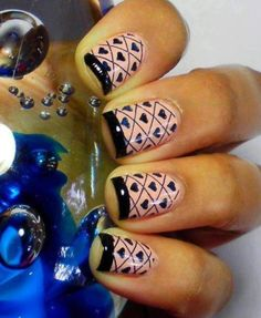 Light Pink nails with black French Manicure tips, small black free-hand hearts, checkerboard, Valentines Day, Holiday nail art