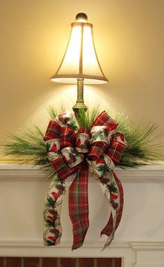 Bow On Mantel Una lampara sencilla covertida en algo especial