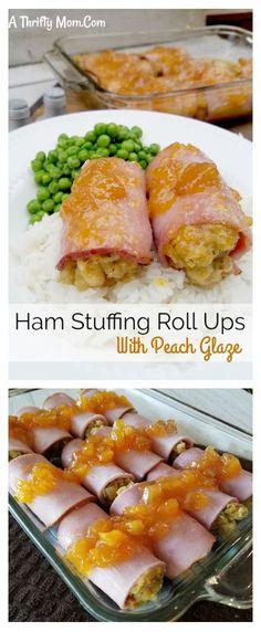 Ham Stuffing Roll Ups With Peach Glaze