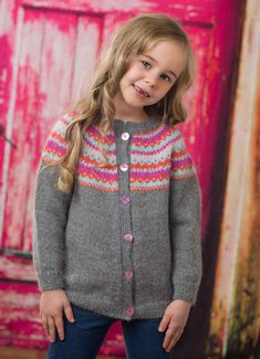 Dale Book 294 Norwegian / Fair Isle cardigan knitting pattern for kids 2 to 12, available at Kidsknits.com.