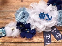 Baby Shower Sash, Baby Shower Party Favors, Baby Shower Centerpieces, Baby Shower Themes, Nautical Favors, Nautical Theme, Photo Prop, Maternity Sash, Fabric Flowers