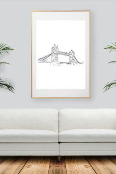 Black And White Wall Art, London Bridge, City Art, Decoration, All Print, Unique Jewelry, Handmade Gifts, Prints, Etsy