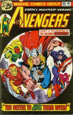 The Avengers Gil Kane Cover Art. Captain America, having been bombarded by the Assassin with lethal radiation, hangs between life and death. As the Avengers and Falcon await news of his condition, Donald Blake works tirelessly to heal his comrade. Avengers Comics, The Avengers, Archie Comics, Marvel Dc, Avengers Comic Books, Dc Comics, Marvel Heroes, Comic Books Art, Captain Marvel