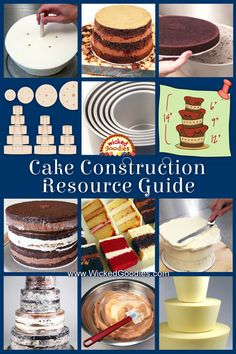 Wedding Cake Recipes - A professional baker's guide to building layer cakes, tiered cakes, wedding cakes and sculpted cakes including 12 instructional videos Easy Cake Decorating, Cake Decorating Techniques, Cake Dowels, Cake Filling Recipes, Cake Recipes, Two Layer Cakes, How To Stack Cakes, Cake Hacks, Sculpted Cakes