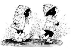 Jip en Janneke in de regen