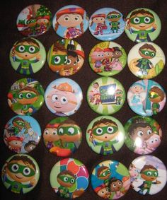 20 Pin Back Button Party Favor  Super Why by PutOnYourPartyCap, $10.00