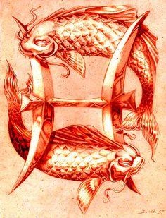 """Pisces: ~ """"Poissons Par,"""" by David Esquivel. Zodiac Signs Pisces, Zodiac Art, Astrology Signs, Pisces Tattoo Designs, Pisces Tattoos, Tatoos, Symbols And Meanings, Esquivel, Pop Art"""