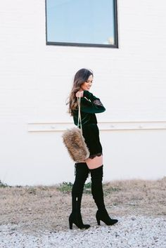 This fur, velvet and lace combo is perfect for date night!