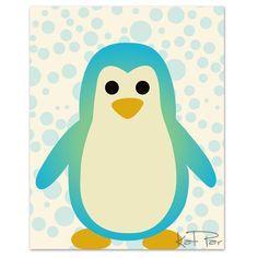 "Blue Penguin, 8x10"" Baby Nursery wall art, Art Decor, Children wall art, Nursery Print. $18.00, via Etsy."
