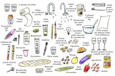 """Exploration exercise #15 from """"How to be an explorer of the world"""" by Keri Smith. I recorded everything that I consumed in 1 day (I forgot a few things like soap and after sun lotion..)"""