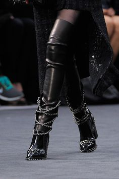 Chanel Chained Boots Overknees Fall 2013 #Shoes #Heels #Chains