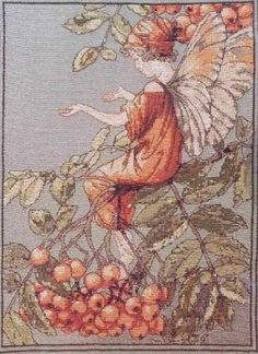 Cross stitch - fairies: Mountain ash fairy - Cicely Mary Barker (free pattern with chart)