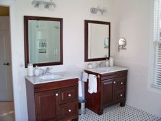 Master Bathroom Remodel With  New Tub, Floors, & Vanities contributed by Penny @ The Comforts of Home The master bath is finished. Well, except for installing my vintage chandelier over the tub and that will happen after the first of the year. So I wanted to share with you how beautiful it turned out! You can …