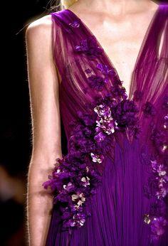J. Mendel HC SS 2013 | details | violet | floral applique