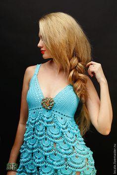 Купить или заказать Пляжный сарафан 'Бирюзовые ракушки' в интернет-магазине на Ярмарке Мастеров. Нежно бирюзовый сарафан для пляжного отдыха из хлопка с оригинальным объемным узором. Master Class, Crochet Clothes, Crochet Top, My Favorite Things, Knitting, Skirts, Tops, Dresses, Women