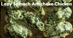 These chicken breasts topped with spinach, artichokes, & 3 cheeses are easy on prep but big on flavor. They are low carb, grain free, gluten free, THM S.