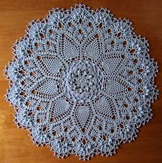 "from Leisure Arts ""Absolutely Gorgeous Doilies"" by Patricia Kristoffersen  DMC® Cebelia Crochet Cotton, Size 10 color: #800 Sky Blue  16 inches using a size 6 (1.80mm) steel crochet hook"