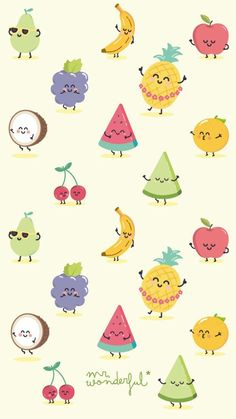 41 Ideas Fruit Wallpaper Kawaii For 2019 Mr Wonderful, Kawaii Wallpaper, Wallpaper Iphone Cute, Macbook Wallpaper, Cute Backgrounds, Wallpaper Backgrounds, Kawaii Fruit, Cute Fruit, Summer Wallpaper