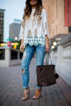 Street Style: Lace & Rips. - Mia Mia Mine. Shopbop Top, BlankNYC Jeans, Louis Vuitton Neverfull MM