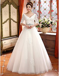 A-line V-neck Lace And Tulle Court Train Wedding Dress – AUD $ 138.99