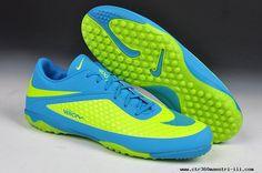 New Fluorescent Green/Blue Nike Hypervenom Phelon TF Jnr Boots