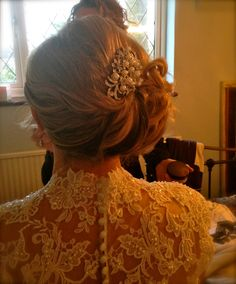 Back view of Bride Niki www.hairbynickymckenzie.co.uk Bridal Hair Up, Girls Dresses, Flower Girl Dresses, Up Hairstyles, The Selection, Bride, Wedding Dresses, Fashion, Bridal Dresses