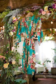 Cotton Floral Robe, Teal Cotton Robes For Bridesmaids, Kimono Robe, Bridesmaid Robe, Gift For Brides Bridal Party Robes, Wedding Gowns, Bridesmaid Robes, Floral Bridesmaids, Floral Kimono, Cotton Kimono, Silk Kimono, Brooklyn, Dream Wedding
