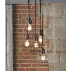 Industrial Cage Work Light Chandelier, Shades of Light