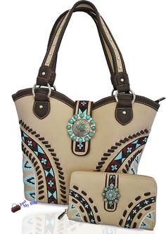 New Montana West® Concealed Carry, Aztec Western Shoulder Bag + Wallet - Beige #MontanaWest #ShoulderBag