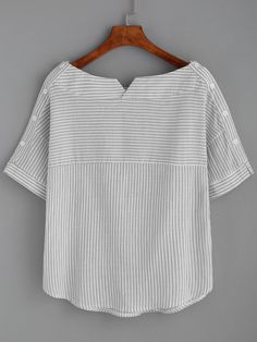 Shop Boat Neckline Pinstripe Button Side Top online. SheIn offers Boat Neckline Pinstripe Button Side Top & more to fit your fashionable needs.