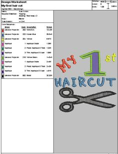 """Embroidery Digital File """"My 1st haircut Applique"""" by DixieCharmm on Etsy"""