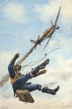 Bail Out! A British Spitfire pilot abandons his damaged plane. Ww2 Aircraft, Fighter Aircraft, Military Aircraft, Air Fighter, Fighter Pilot, Fighter Jets, Bail Out, Aircraft Painting, Airplane Art