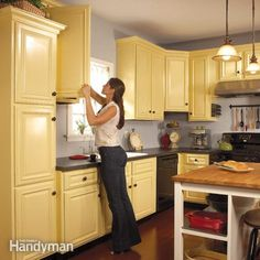 How to Spray Paint Kitchen Cabinets - Summary | The Family Handyman