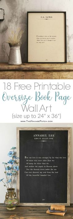 Oversize Book Page Wall Art (and 18 Free Printables!) More Oversize Book Page Wall Art Free Printables} Diy Art, Diy Wall Art, Diy Wall Decor, Quote Wall Art, Room Decor, Diy Wanddekorationen, Easy Diy, Diy Crafts, Edgar Allen Poe