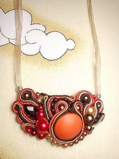 Náhrdelník Arlen, soutache necklace, orange soutache, awesome soutache, necklace