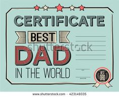 template certificate (diploma) congratulations for father's day in vintage retro style. vector illustration. World's best dad certificate template.